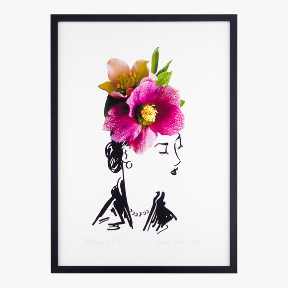 hellebore hat one art print by petal & pins