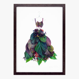 plum leaf & elderberry dress art print by petal & pins