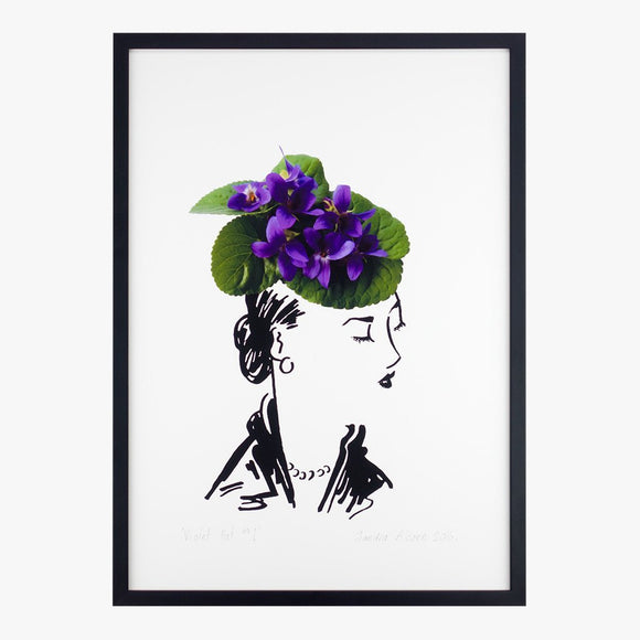 violet hat one art print by petal & pins