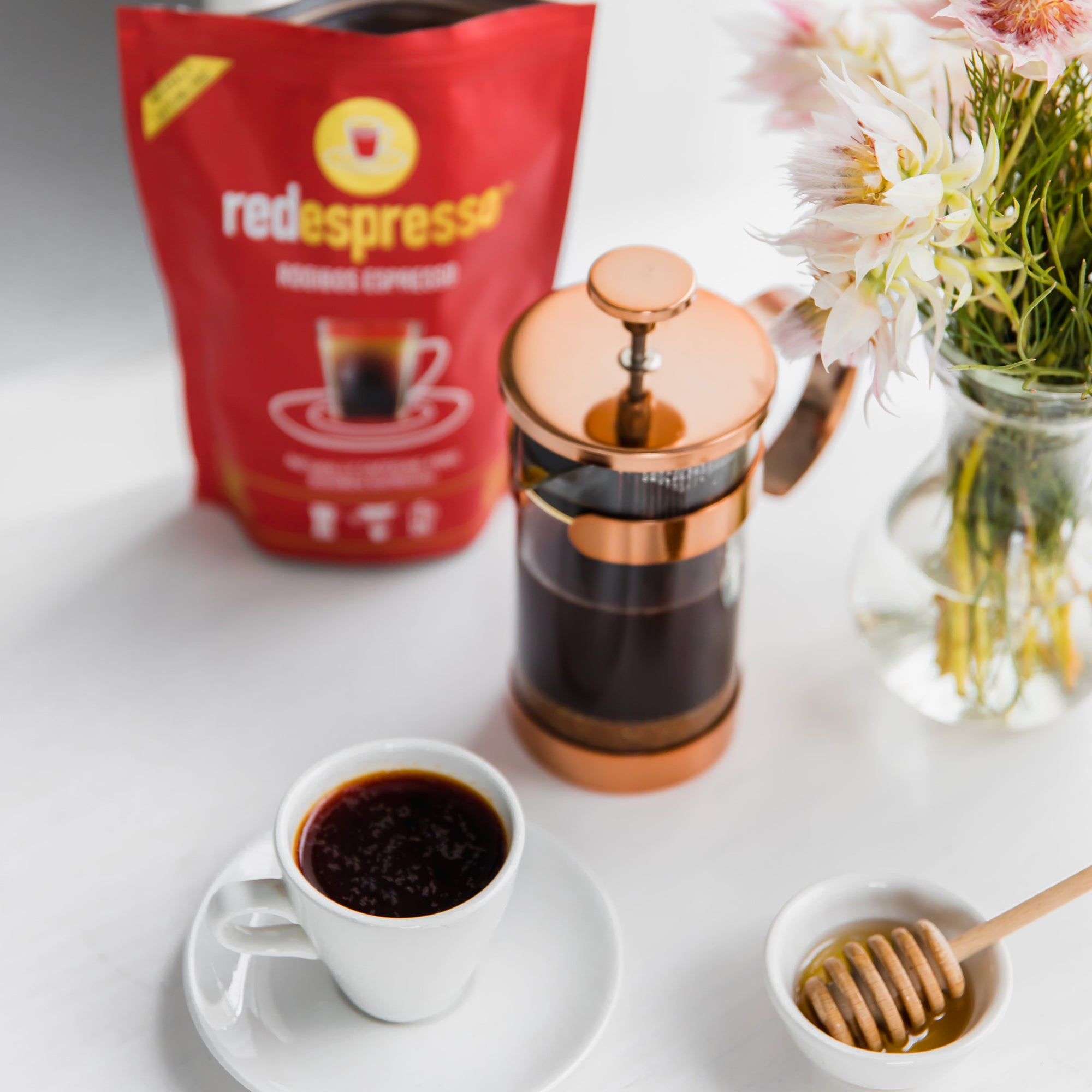 Brew red espresso rooibos using your french press
