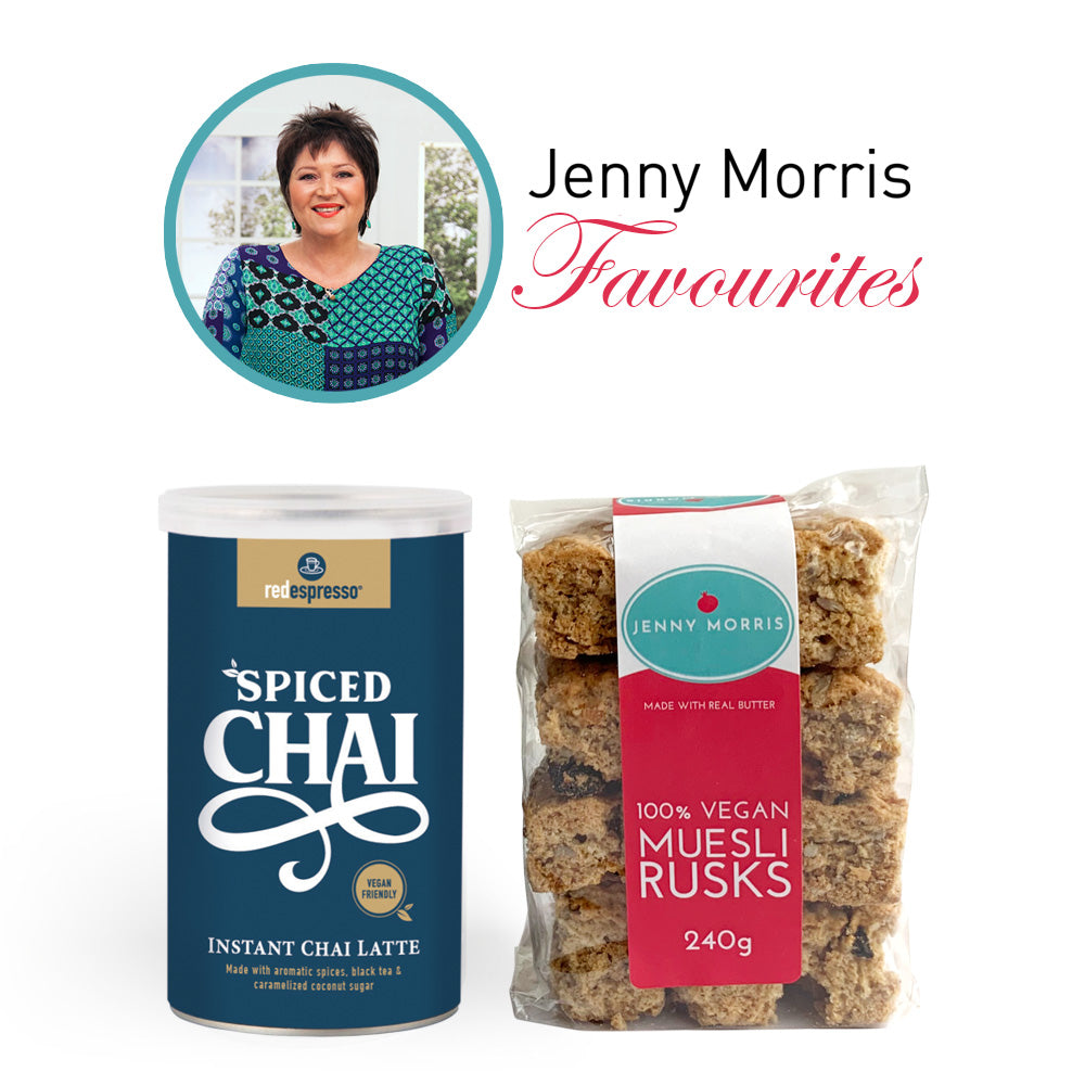 Jenny Morris Mi Vegan Muesli rusks and vegan instant spiced chai