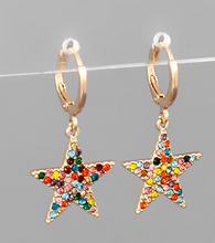 Load image into Gallery viewer, Diva Star Huggies Earrings