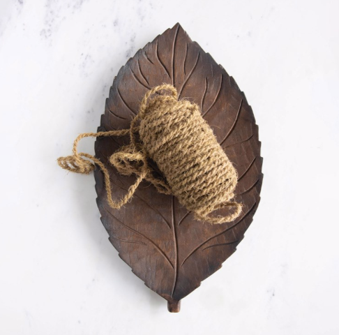 Hand-Carved Mango Wood Leaf Tray