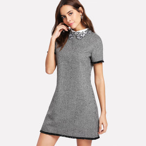 Short Sleeve Embroidered Dress