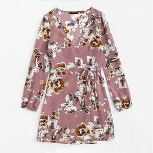 Surplice Wrap Floral Dress