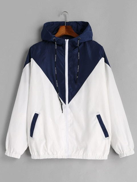 Hooded Two Tone Windbreaker
