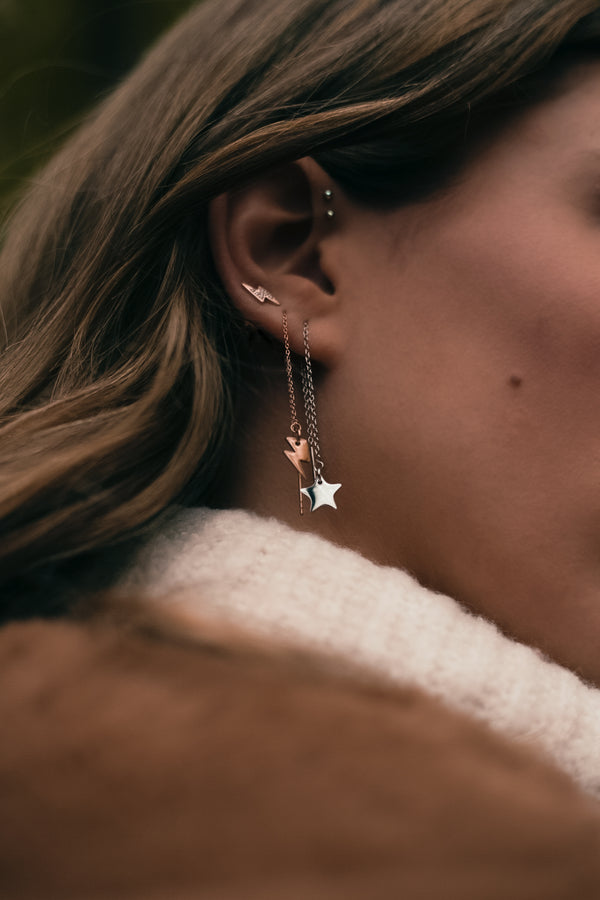 MOONCHILD Thunder & star chain earrings