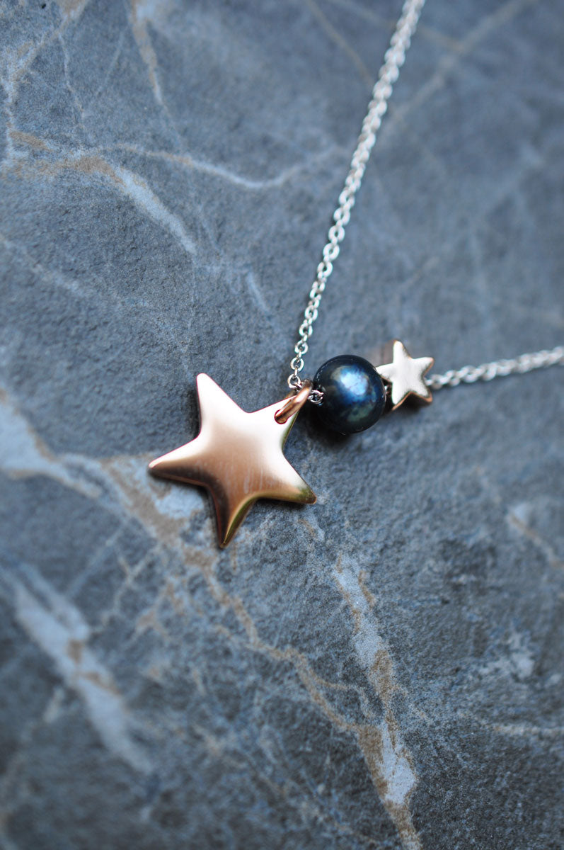 Silver plated necklace PEARL STAR / Posrebrena ogrlica PEARL STAR