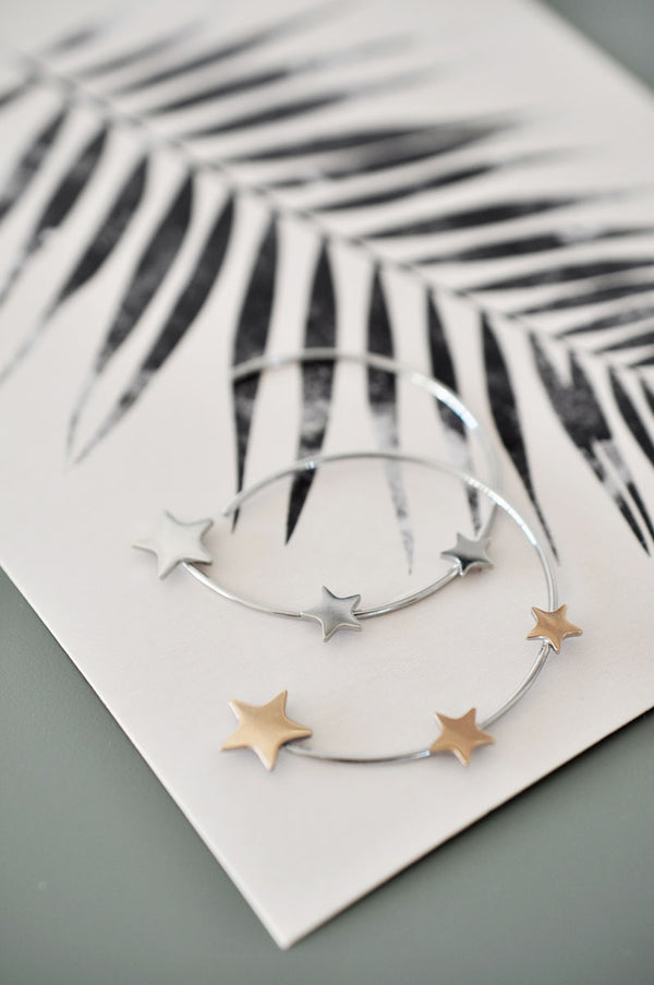 Hoop earrings 3 STARS / Ring naušnice 3 STARS