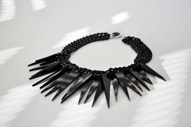 Spikes necklace ALL BLACK / Spikes ogrlica CRNA