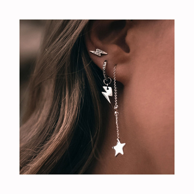 MOONCHILD Tiny silver plated diamond thunder earrings