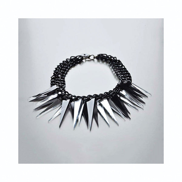 Spikes necklace BLACK/SILVER / Spikes ogrlica CRNO/SREBRNA