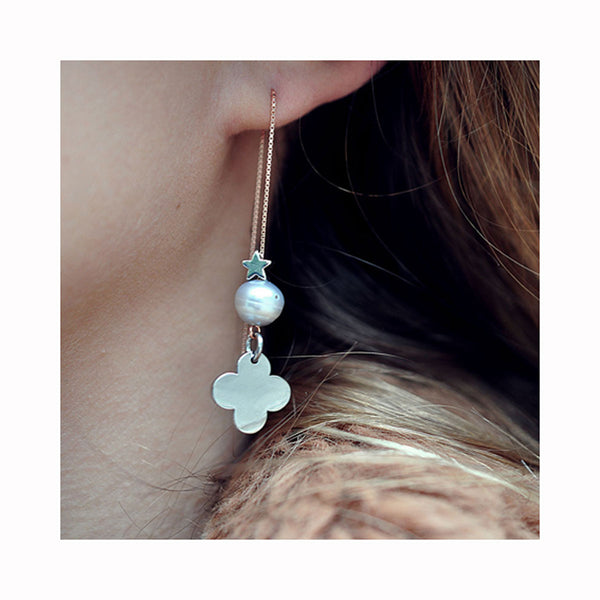 Chain earrings PEARL CLOVER / Viseće naušnice PEARL CLOVER