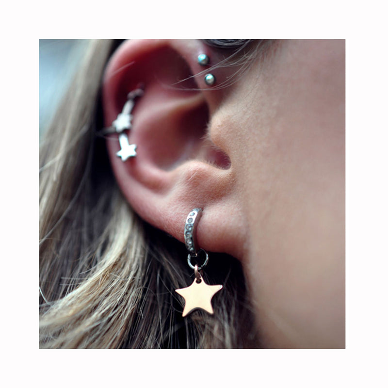 Zirkon hoop STAR earrings / Cirkon ring STAR naušnice