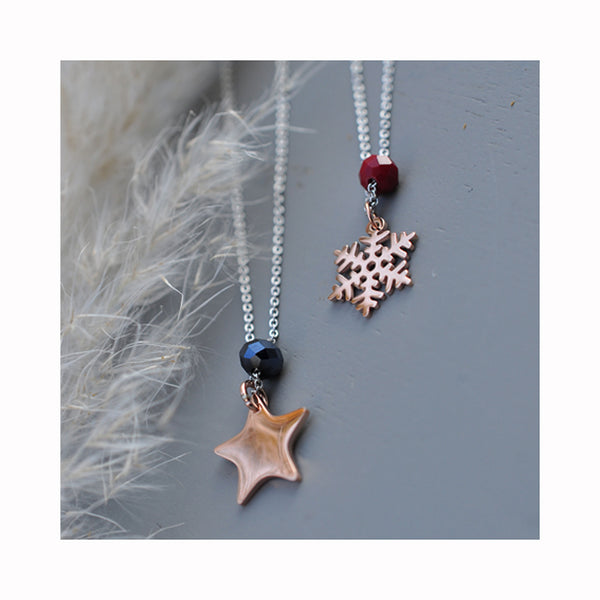 MOONCHILD Star & Snowflake glass necklace
