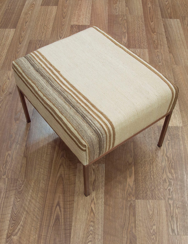 Small Kilim Ottoman Neutral Stripe