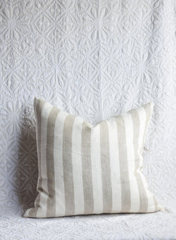 Striped Linen Pillow - Cream