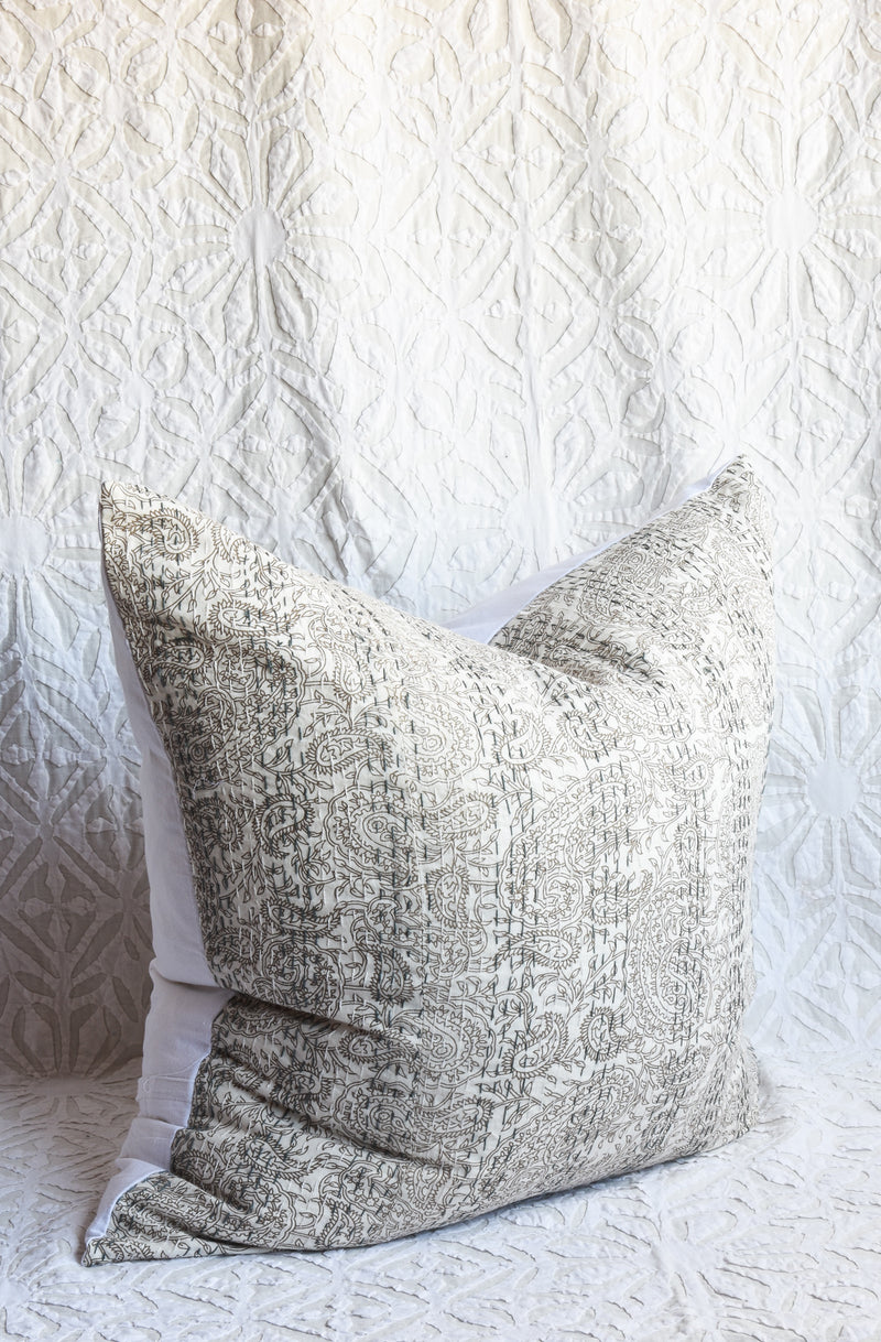 Hand Blockprinted Kantha Stitch Pillow