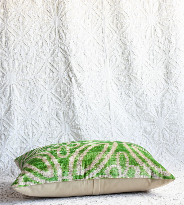 Silk Velvet Ikat Pillow - Bright Green
