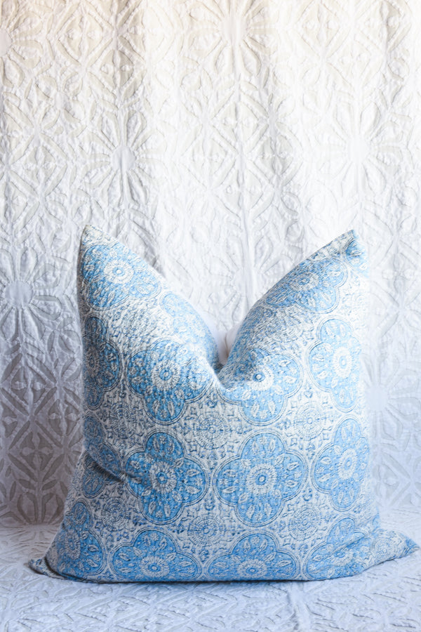 Blockprinted Pillow - Soft Blue