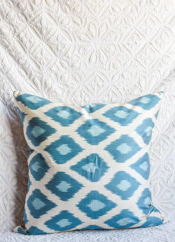 Silk Ikat Pillow - Turquoise and Aqua