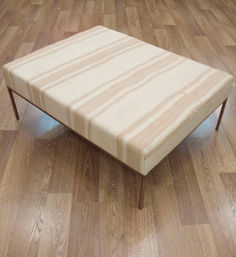 Coffee Table Ottoman in Neutral Stripe