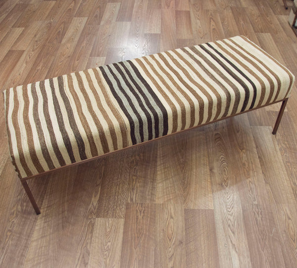 Neutral Stripe Kilim Bench