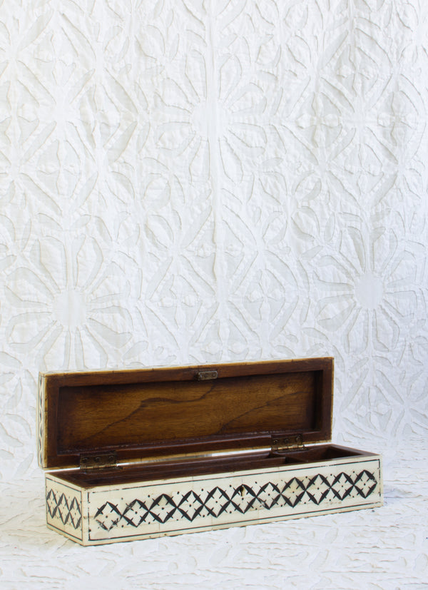 Bone Inlay Pencil Box - X Pattern