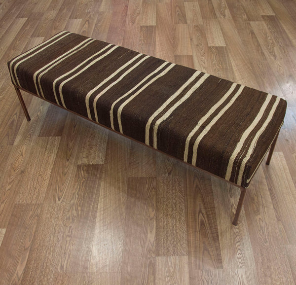 Upholstered End of Bed Bench in Vintage Kilim ETA November 2020