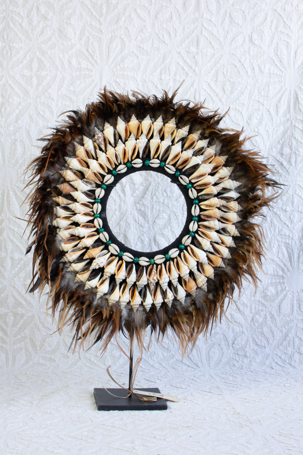 Papua Shell and Feather Necklace on Stand