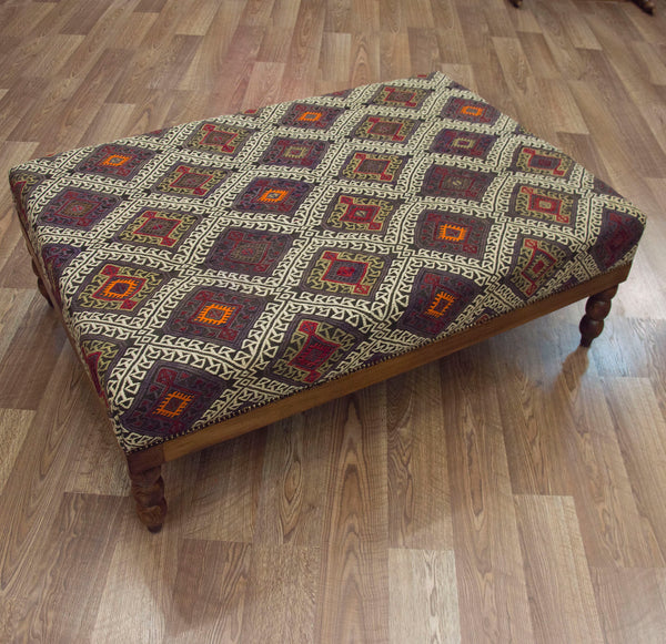 Coffee Table Ottoman in Vintage Tukish Zilli Kilim