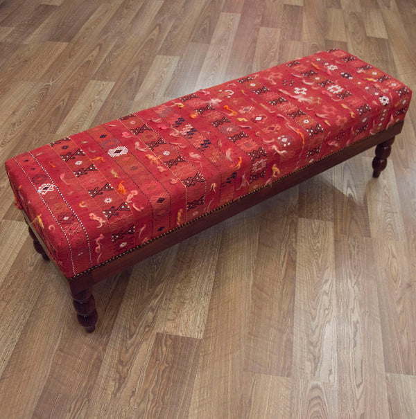 End of Bed Bench Ottoman in Vintage Turkish Kilim