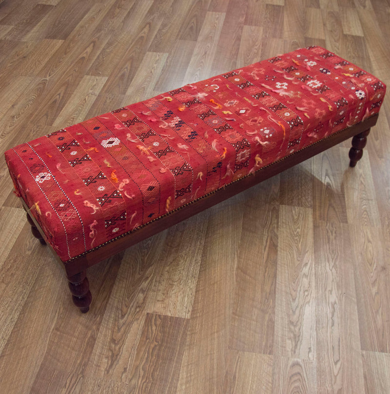 End of Bed Bench Ottoman in Vintage Turkish Kilim ETA November 2020