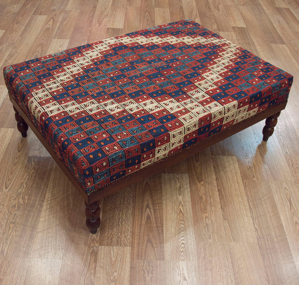 Coffee Table Ottoman in Vintage Turkish Kilim