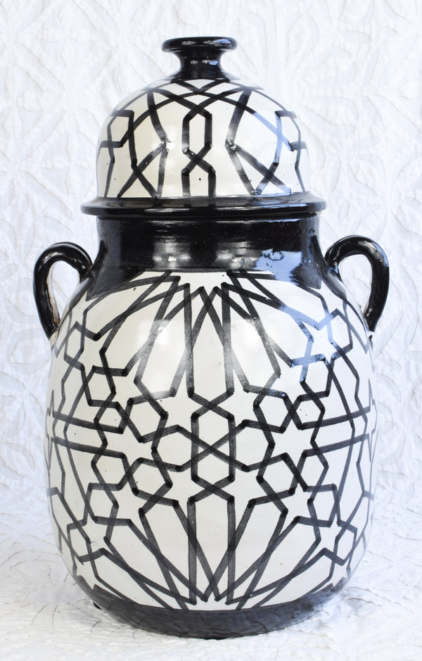 Black and White Vase with Lid