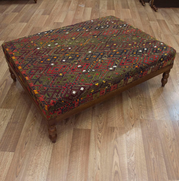Coffee Table Ottoman with Vintage Turkish Kilim