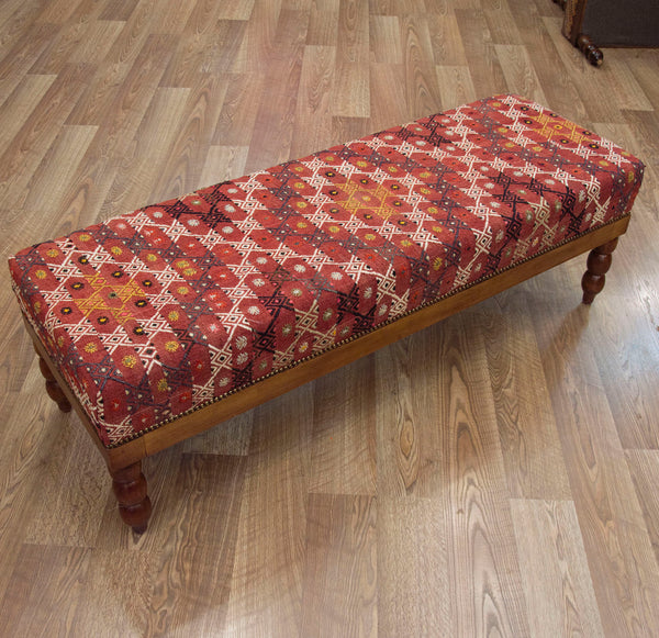 Vintage Kilim End of Bed Bench Ottoman