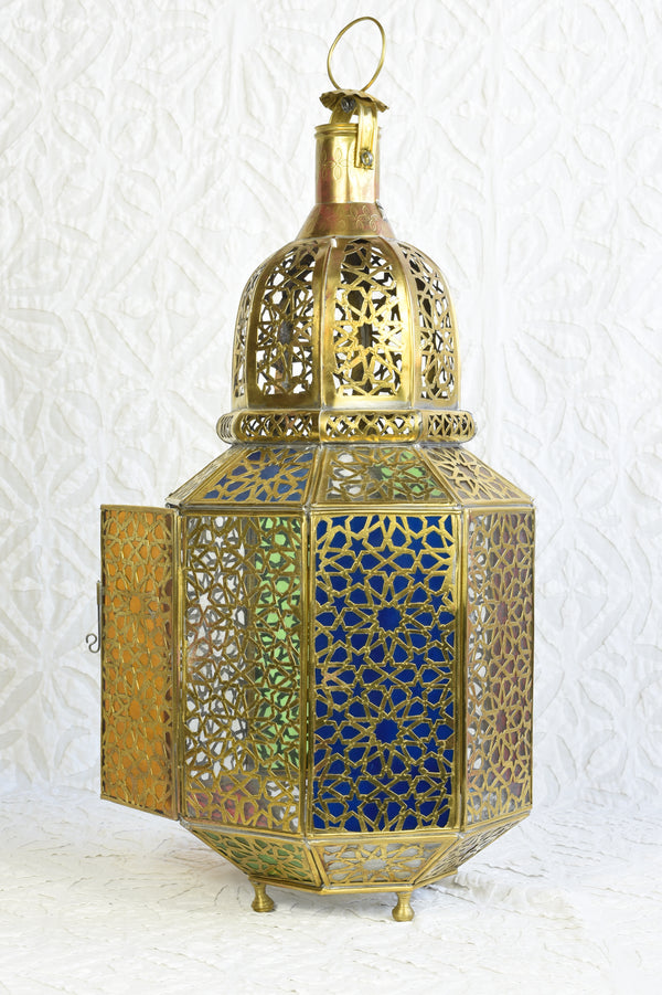 Moroccan Brass Lantern with Colored Panes