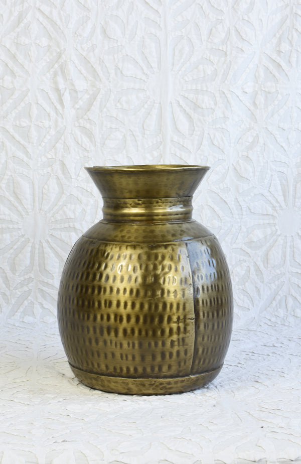 Iron Vase - Antiqued Brass Finish