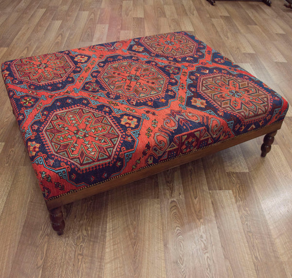 Vintage Soumac Kilim Coffee Table Ottoman