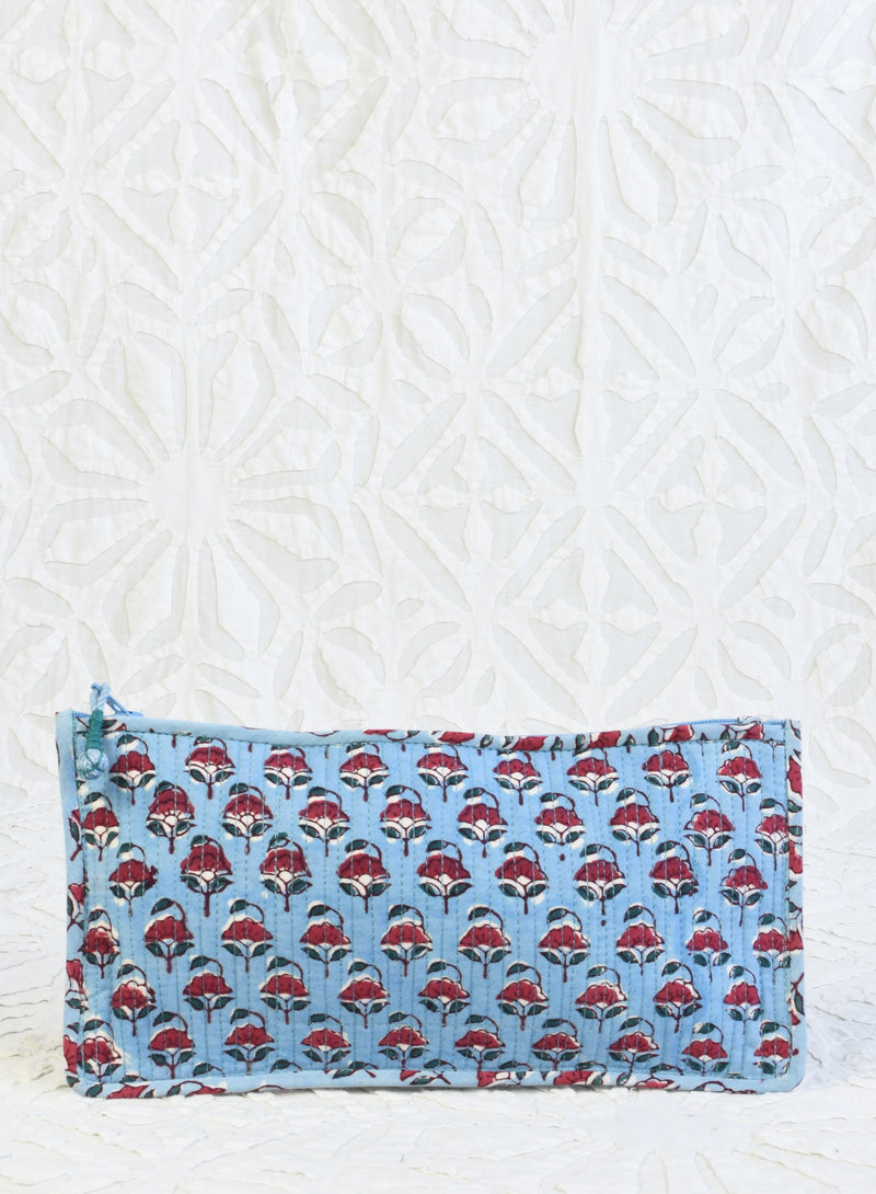 Small Printed Clutch - Blue and Red Floral