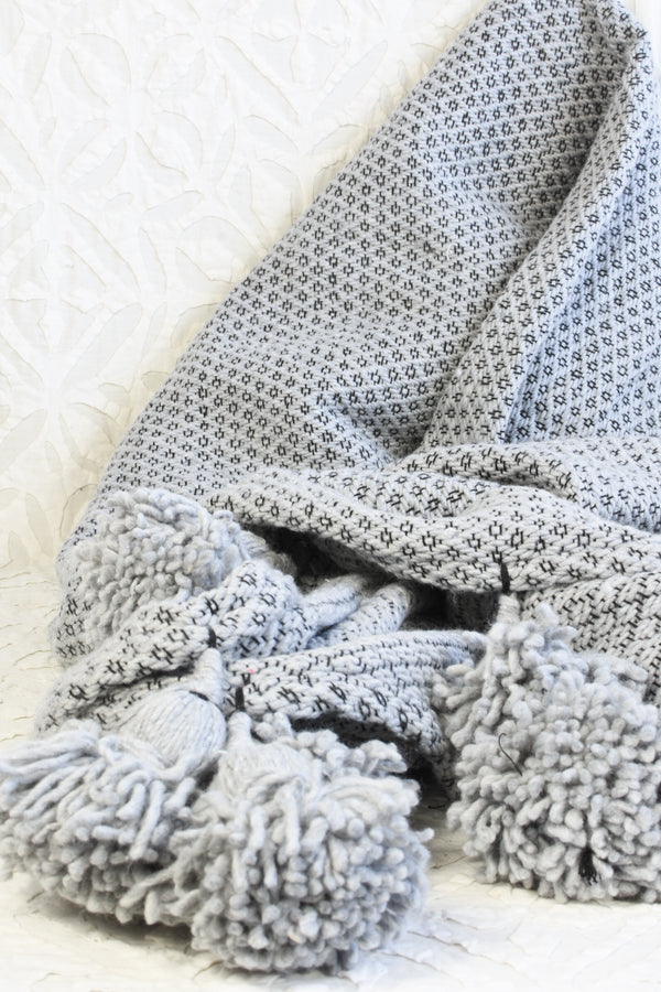 Jacquard Pom Pom Throw Blanket - Grey