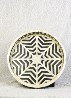 Round Bone Inlay Tray - Black