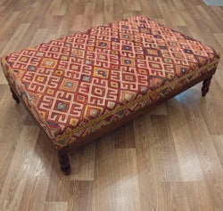 Vintage Turkish Kilim Coffee Table Ottoman