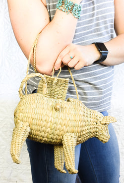 Handwoven basket cow purse