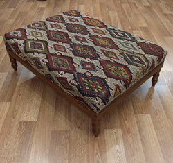 Vintage Turkish Kilim Coffee Table Ottoman ETA November 2020