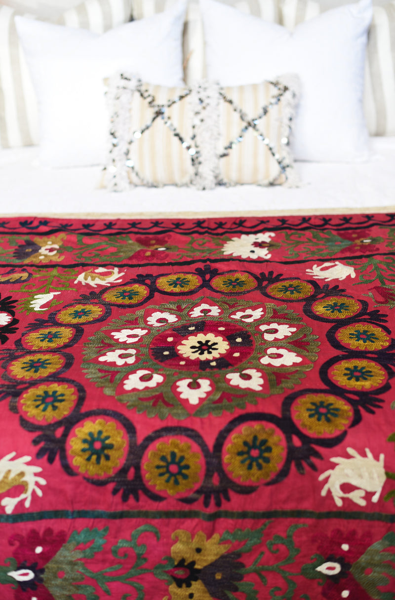 Vintage Suzani - Red with White Border