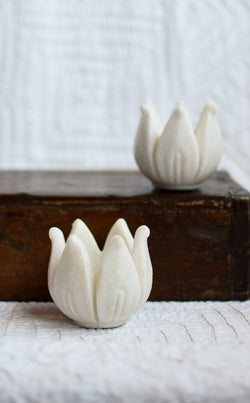 Hand Carved Marble Lotus Votive