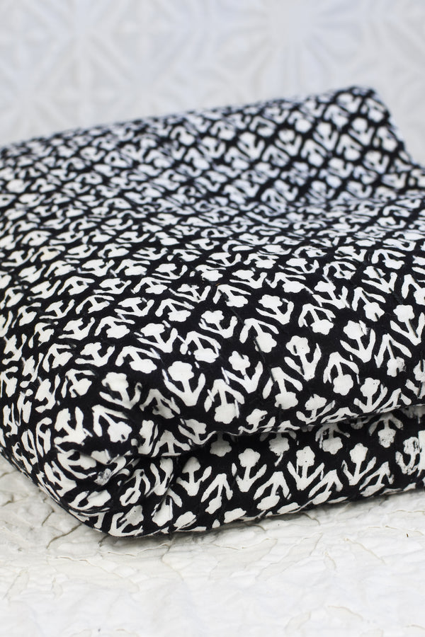 Kantha Stitch Bed Cover - White Flowers