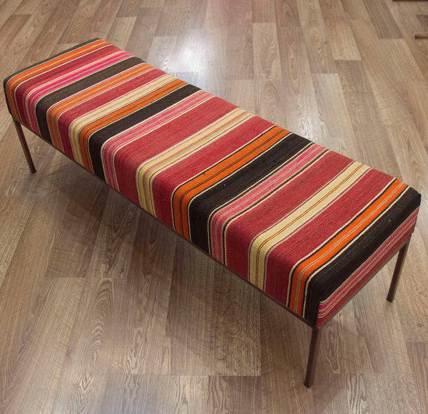 Sunshine Stripe Vintage Turkish Kilim End of Bed Bench Ottoman